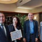 von links nach rechts: Nuriddin Mamadshanov, Konsul der Republik Usbekistan, Oksana Ten, Geschäftsführerin der DUsG, Dr. Colin Dürkop, Präsident der DUsG, Dieter Brandenburger, Vize-Präsident der DUsG